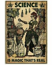 Vintage Halloween Science Is Magic Witch Poster Art Print Decor No Frame