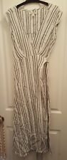 BILLABONG Kaftan Maxi Beach Boho Black White Wrap Dress Cotton Summer Size 8