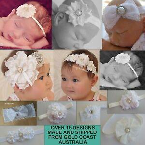 BABY HEADBAND HEADBANDS WHITE CHRISTENING BAPTISM WEDDING FLOWERGIRL FASCINATOR