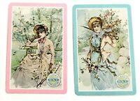Victorian Era Trade Card Clarks - Pair of Swap Playing Cards Vintage Illustrated