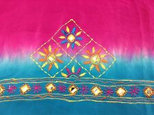 Om Vintage Indian Blouse Piece Art Silk Hand Embroidered Magenta Fabric B128