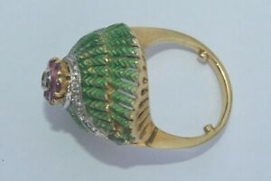 18K SOLID GOLD Antique Victorian Princess Diamond Ruby ring 12.4grams ''RARE''