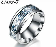7.38912/8MM Silvering Celtic Dragon Stainless steel Ring Mens Jewelry men's NEW