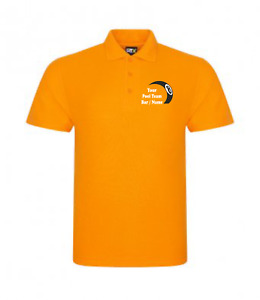 Personalised Pool Team Polo Shirt 8 Ball Logo Choose Your Team Name 10 Colours