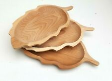 "Wooden plate set of three 13,5"" long medieval serving plate  beech wood"
