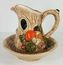 Vintage Ceramic brown orange Mushroom Forest 5 inch Pitcher and bowl 1970s