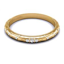 Fine 14K Yellow Gold 0.10 Carat Real Diamond Wedding Eternity Band Size 5 6 7 8