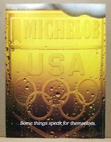 Vintage 1984 Olympics Michelob Beer Anheusuer-Busch USA Frosty Glass Print Ad