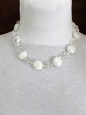 Collier pendentif ras du cou fantaisie grosses perles blanches (1512036)