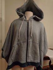 LULULEMON gray cotton sweatshirt hooded poncho zipper sides women's size 8