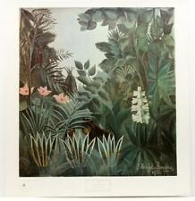 1942 Henry Rousseau Equatorial Wildlife Naive Jungle Lithograph #S193