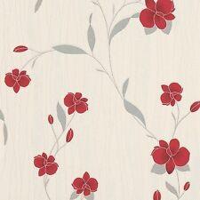Orchid Red Floral Wallpaper textura del destello de plata Hojas 9745-06