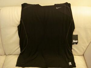NEW MEN'S NIKE PRO COMBAT FITTED  BASE LAYER MUSCLE TANK TOP BLACK SMALL 449786