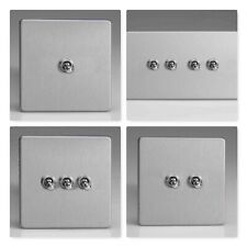 Varilight Screwless Brushed Steel Toggle Dolly 10 Amp Light Switch 1 2 3 4 Gang