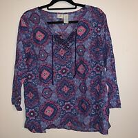 Caribbean Joe Women's Size XL Top Multicolor Tunic 3/4 Sleeve Blouse