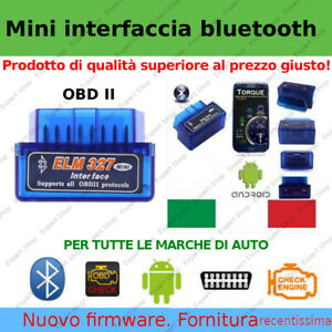 MINI INTERFACCIA DIAGNOSI AUTO OBD2 BLUETOOTH CANBUS ANDROID TABLET PHONE TORQUE