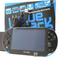 "SONY PS Vita PCH-2000 Slim Blue Black Wi-Fi LCD w/ Charger, Box, 8GB ""Excellent"""