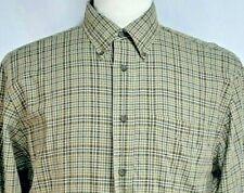 CC Filson Mens sz M Brown Striped Check Long Sleeve Button Front Shirt