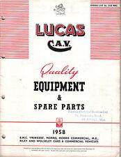 BMC Morris MG Riley Wolseley Princess Car & Commercial 1958 Lucas Spares List