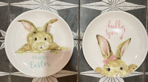 """CUTE! Pastel Grace Fine Ceramic EASTER BUNNY Rabbit SALAD Lunch PLATES NEW 8.25"""""""
