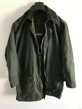 Mens Vintage Barbour Border wax jacket Blue coat 38in size Small / Medium S/M