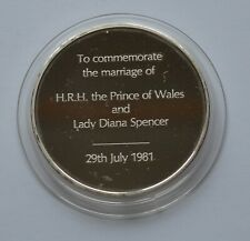 More details for 1981 commemorate marriage of prince of wales and lady diana silver medallion 52g