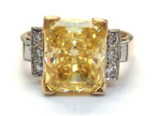 18k Yellow Gold And Platinum Yellow Crystal And Diamond Cocktail Ring  #E