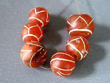 Beautiful & Rare 6 Etch Carnelian Beads Cheap Don't Miss