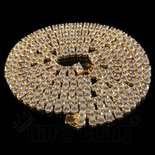 18k Gold 2 ROW Simulated Lab Diamond Flooded Out Iced Men Tennis Chain Necklace