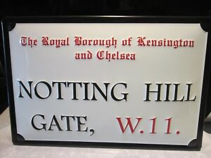 """NOTTING HILL , LONDON,  EMBOSSED(3D)  VINTAGE-STYLE METAL  SIGN, 12""""X 8"""" 30x20cm"""