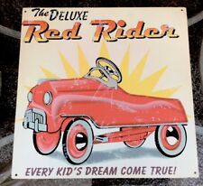 "The Deluxe Red Rider Pedal Car Vintaged Metal Sign 13.75""x13.75"" Retired HTF"