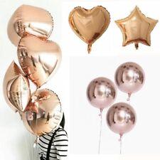 "2pcs 18"" Rose Gold Foil Hearts Metallic Infatable Helium Balloons Party Decor"