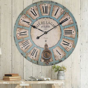 EXTRA LARGE SHABBY CHIC WALL CLOCK 60CM ANTIQUE VINTAGE STYLE Diameter 60cm
