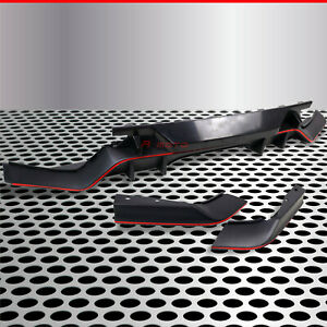 Fit for 17+Civic Hatchback FK7 Rear Chin Bumper Fin Effect Diffuser Red/Textured