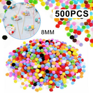 500Pcs DIY Mixed Color Mini Soft Fluffy Pom Poms Pompoms Ball 8mm for Kids Tool