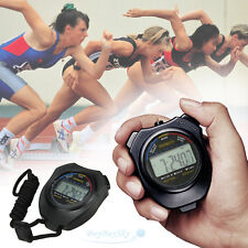Handheld Digital LCD Chronograph Sports Stopwatch Counter Timer with Strap USA