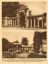 Syon House with its lion-crowned gateway and stately gardens 1926 old print