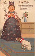 AK Litho. Prosit Neujahr! Frau mit Hund Aber Molly! keine Eisbahn Scherz v. 1920
