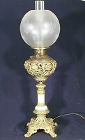 ANTIQUE VICTORIAN OIL GWTW BANQUET LAMP-NOW ELECTRIFIED