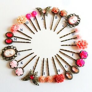 Rose Ultra Hair Pins Grips Clips Slides Vintage Accessories Bridesmaid Flower