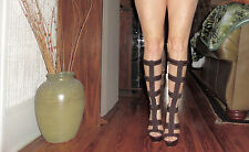 bebe 'COURTNEY' GLADIATOR CAGED PLATFORM STILETTO BOOTS RARE! SOLD OUT! $370 Sz6