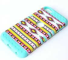 iPod Touch 5th & 6th Gen - HARD & SOFT RUBBER HIGH CASE COVER AZTEC MINT BLUE
