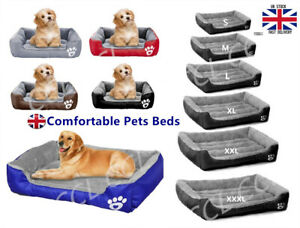 UK Pet Dog Cat Bed Puppy Cushion House Soft Warm Kennel Mat Blanket Washable Bed