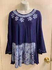 NWT INDIA AWESOME BLUE EMBROIDERY BOHO DRESS/TUNIC FREE SIZE