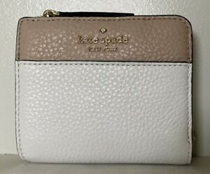 New Kate Spade Jackson small L-zip Bifold wallet Leather Optic White multi