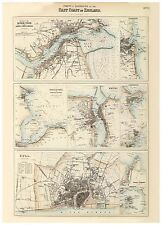 Old Vintage Hull Whitby Hartlepool Sunderland map Fullarton ca. 1872