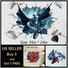 US 3D Wall stickers Superhero Kids Cartoon Room Decal Wallpaper Removable