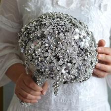 Luxury Crystals Rhinestones Wedding Bridal Bouquet Brooch Bride Hand Flower 21cm