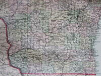 Wisconsin state detailed 1889 Bradley large oversized hand colored old map