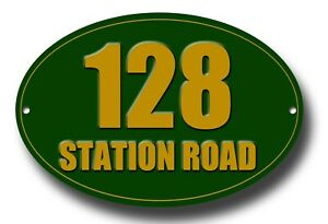 PERSONALISED HOUSE NUMBER & STREET NAME OVAL METAL SIGN - INSTRUCTIONAL SIGN.